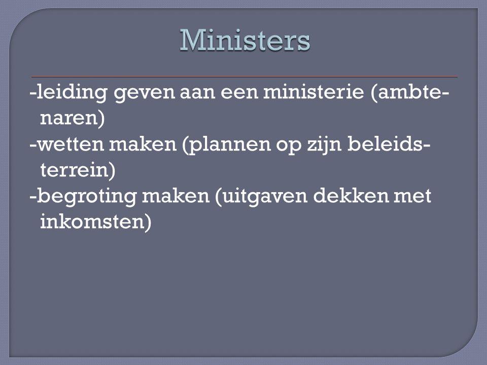 -leiding geven aan een ministerie (ambte- naren) -wetten maken (plannen op zijn beleids- terrein) -begroting maken (uitgaven dekken met inkomsten)