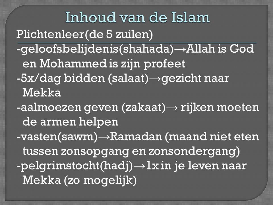 Plichtenleer(de 5 zuilen) -geloofsbelijdenis(shahada) → Allah is God en Mohammed is zijn profeet -5x/dag bidden (salaat) → gezicht naar Mekka -aalmoez