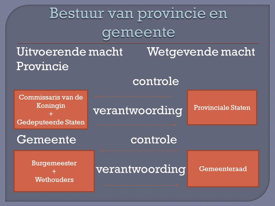 Uitvoerende macht Wetgevende macht Provincie controle verantwoording Gemeente controle verantwoording Commissaris van de Koningin + Gedeputeerde State