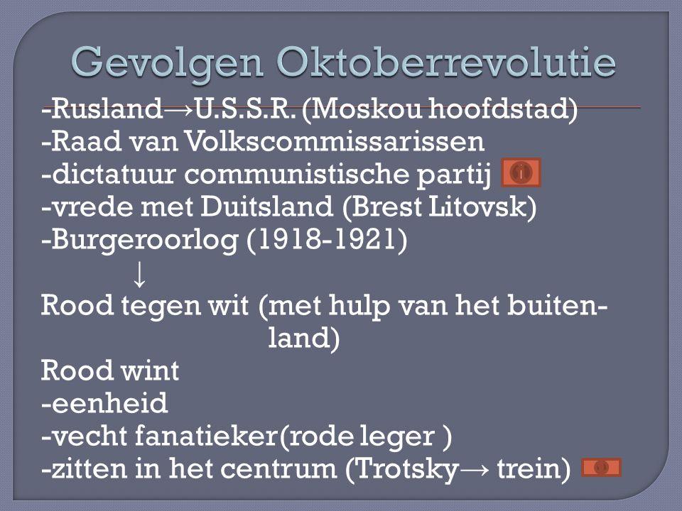 -Rusland → U.S.S.R. (Moskou hoofdstad) -Raad van Volkscommissarissen -dictatuur communistische partij -vrede met Duitsland (Brest Litovsk) -Burgeroorl