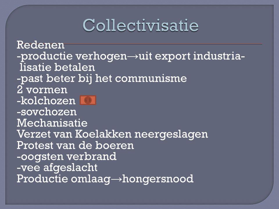 Redenen -productie verhogen → uit export industria- lisatie betalen -past beter bij het communisme 2 vormen -kolchozen -sovchozen Mechanisatie Verzet