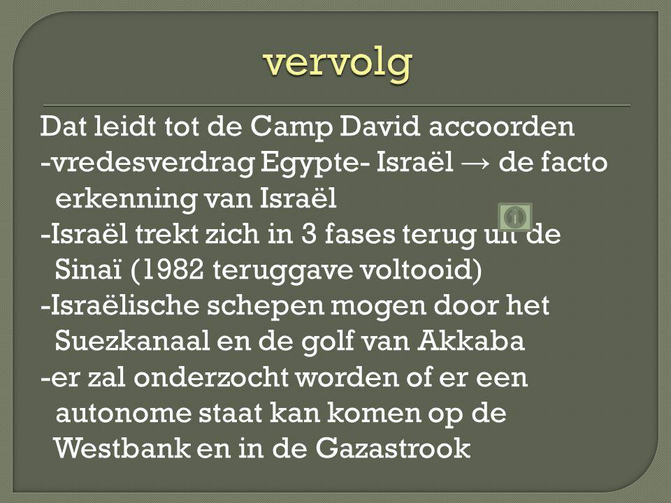 Dat leidt tot de Camp David accoorden -vredesverdrag Egypte- Israël → de facto erkenning van Israël -Israël trekt zich in 3 fases terug uit de Sinaï (1982 teruggave voltooid) -Israëlische schepen mogen door het Suezkanaal en de golf van Akkaba -er zal onderzocht worden of er een autonome staat kan komen op de Westbank en in de Gazastrook
