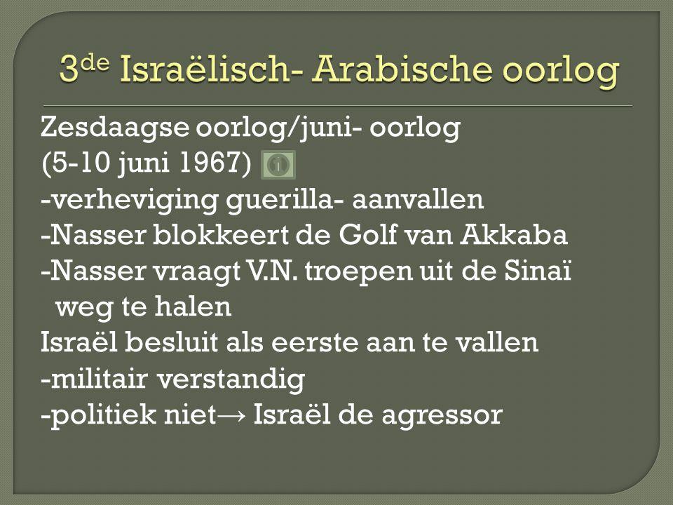 Zesdaagse oorlog/juni- oorlog (5-10 juni 1967) -verheviging guerilla- aanvallen -Nasser blokkeert de Golf van Akkaba -Nasser vraagt V.N.