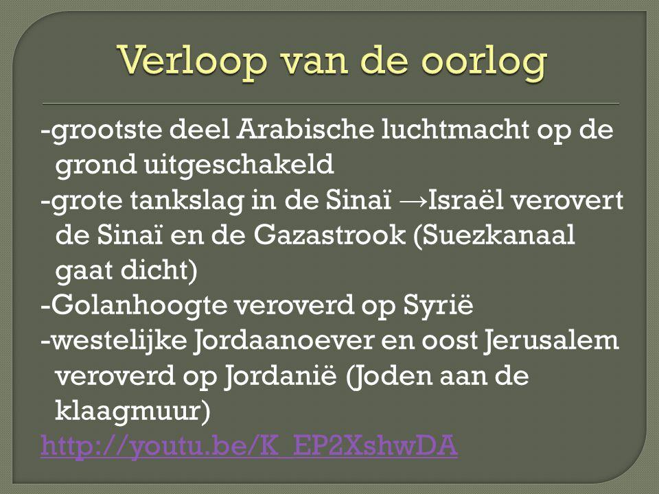 -grootste deel Arabische luchtmacht op de grond uitgeschakeld -grote tankslag in de Sinaï → Israël verovert de Sinaï en de Gazastrook (Suezkanaal gaat dicht) -Golanhoogte veroverd op Syrië -westelijke Jordaanoever en oost Jerusalem veroverd op Jordanië (Joden aan de klaagmuur) http://youtu.be/K_EP2XshwDA