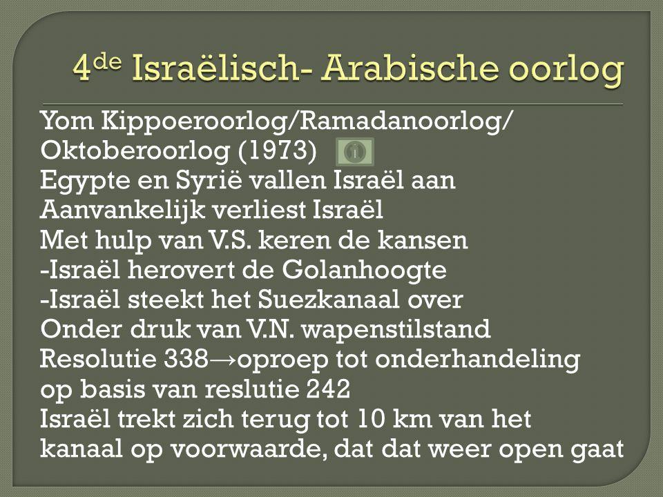 Yom Kippoeroorlog/Ramadanoorlog/ Oktoberoorlog (1973) Egypte en Syrië vallen Israël aan Aanvankelijk verliest Israël Met hulp van V.S.