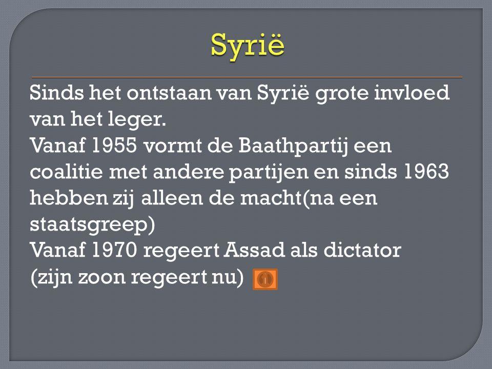 Sinds het ontstaan van Syrië grote invloed van het leger. Vanaf 1955 vormt de Baathpartij een coalitie met andere partijen en sinds 1963 hebben zij al