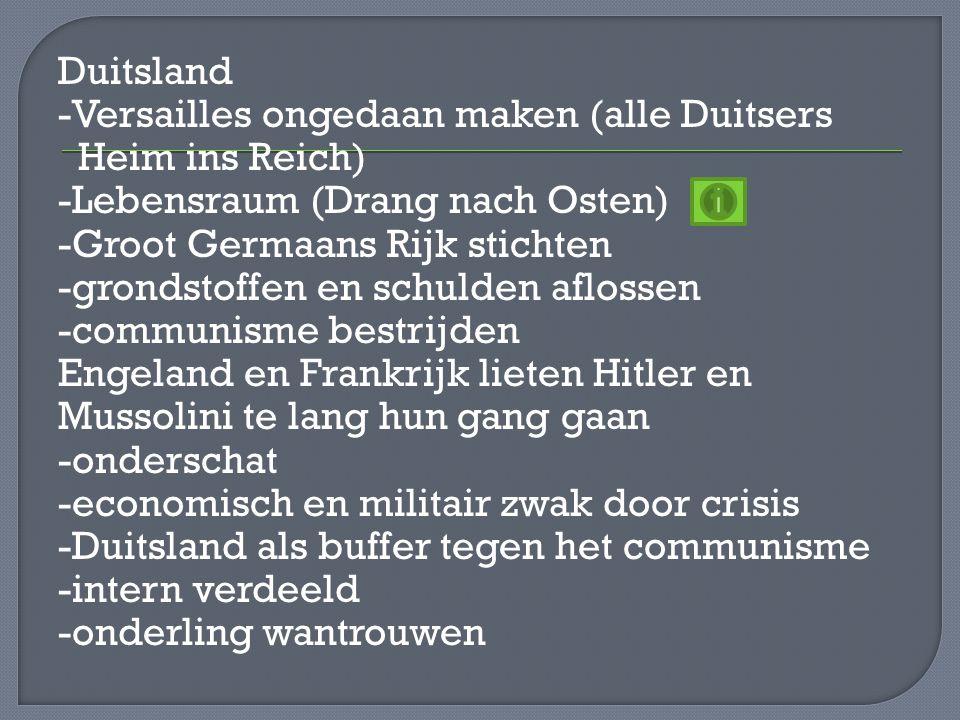 Duitsland -Versailles ongedaan maken (alle Duitsers Heim ins Reich) -Lebensraum (Drang nach Osten) -Groot Germaans Rijk stichten -grondstoffen en schu