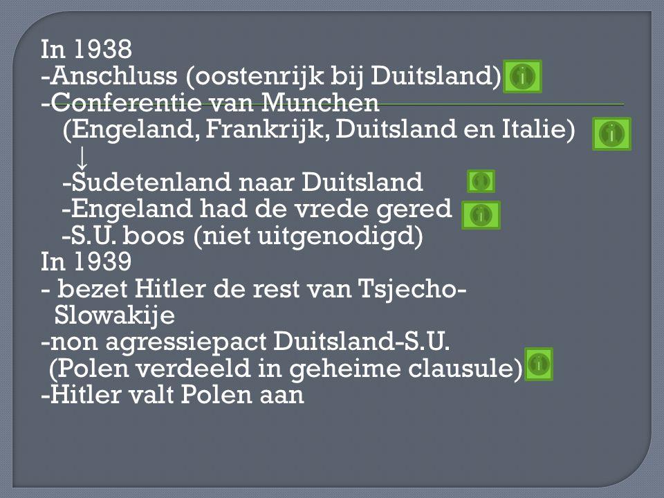In 1938 -Anschluss (oostenrijk bij Duitsland) -Conferentie van Munchen (Engeland, Frankrijk, Duitsland en Italie) ↓ -Sudetenland naar Duitsland -Engel