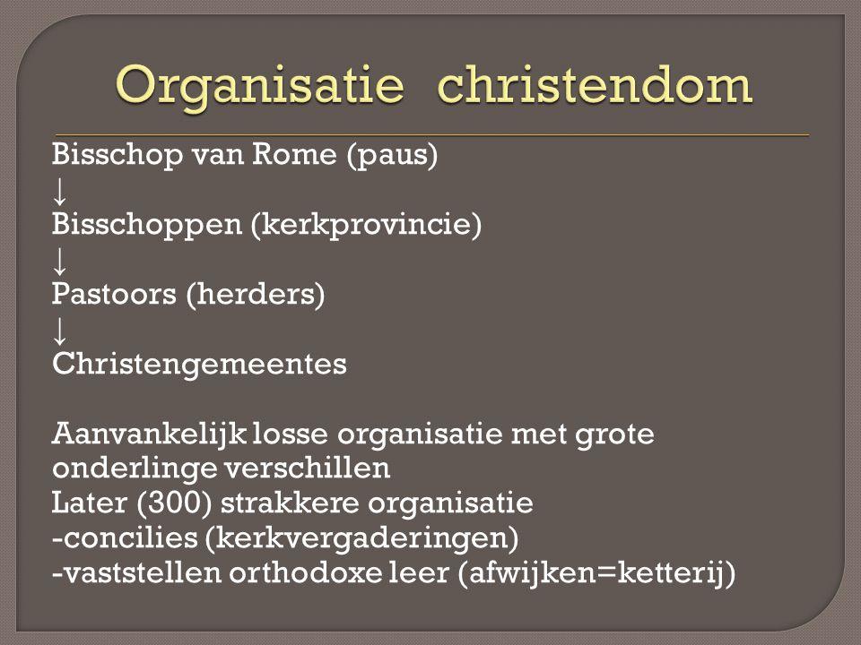 Bisschop van Rome (paus) ↓ Bisschoppen (kerkprovincie) ↓ Pastoors (herders) ↓ Christengemeentes Aanvankelijk losse organisatie met grote onderlinge ve