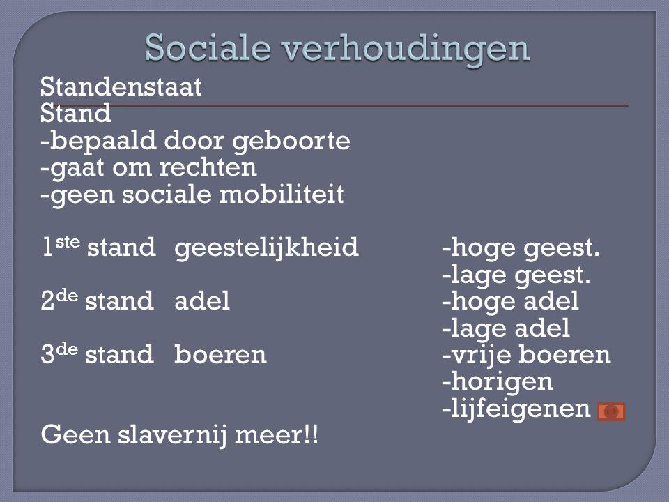 Standenstaat Stand -bepaald door geboorte -gaat om rechten -geen sociale mobiliteit 1 ste standgeestelijkheid-hoge geest. -lage geest. 2 de standadel-