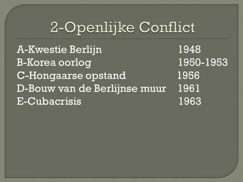 Eerste openlijke conflict Na 1945 ging elke bezettingsmacht in zijn eigen zone zijn eigen gang → Russische zone -communistische dictatuur -moeizaam economisch herstel Westerse zones (gaan samenwerken) -democratische ontwikkeling -economisch herstel mbv Marshallplan