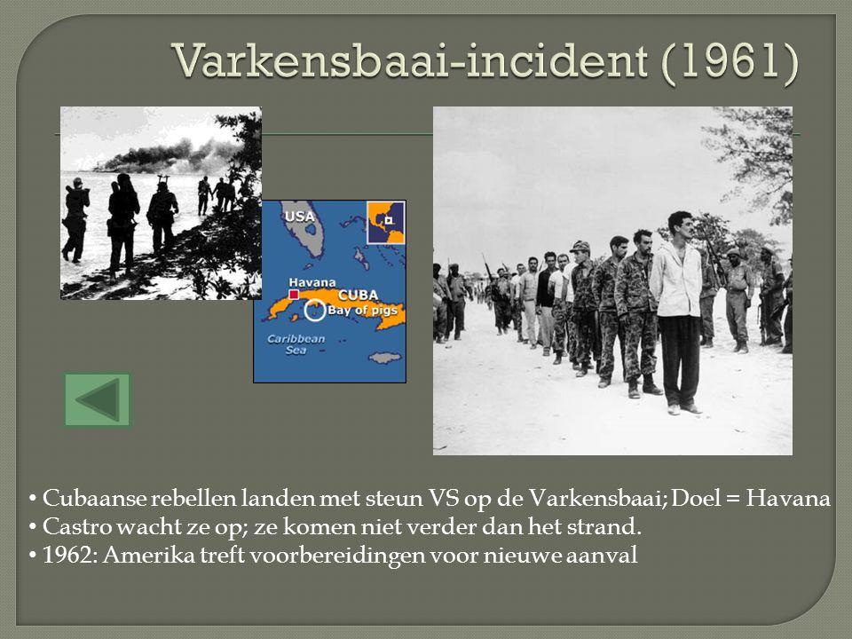 Cubaanse rebellen landen met steun VS op de Varkensbaai; Doel = Havana Castro wacht ze op; ze komen niet verder dan het strand. 1962: Amerika treft vo