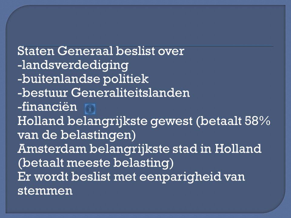 Staten Generaal beslist over -landsverdediging -buitenlandse politiek -bestuur Generaliteitslanden -financiën Holland belangrijkste gewest (betaalt 58% van de belastingen) Amsterdam belangrijkste stad in Holland (betaalt meeste belasting) Er wordt beslist met eenparigheid van stemmen