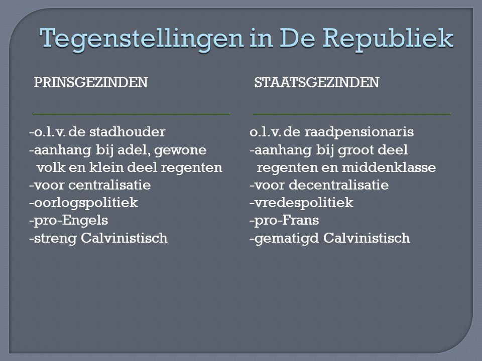 PRINSGEZINDENSTAATSGEZINDEN -o.l.v. de stadhouder -aanhang bij adel, gewone volk en klein deel regenten -voor centralisatie -oorlogspolitiek -pro-Enge