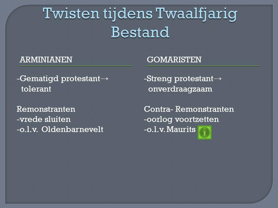 In 1618 Synode van Dordrecht -remonstranten worden verboden -Statenbijbel met de juiste Bijbelvertaling Hugo de Groot gevangen (boekenkist) Oldenbarneveld gevangen (1619 onthoofd) In 1648 Vrede van Münster -Spanje erkent De Republiek -Schelde blijft gesloten -Zuidelijke Nederlanden blijven Spaans