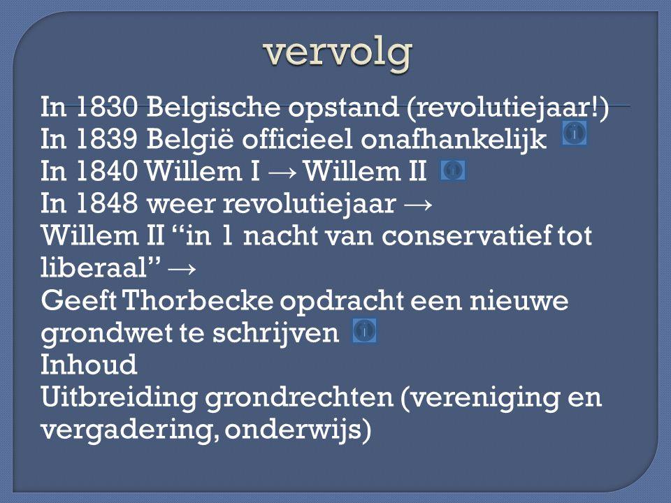 In 1830 Belgische opstand (revolutiejaar!) In 1839 België officieel onafhankelijk In 1840 Willem I → Willem II In 1848 weer revolutiejaar → Willem II