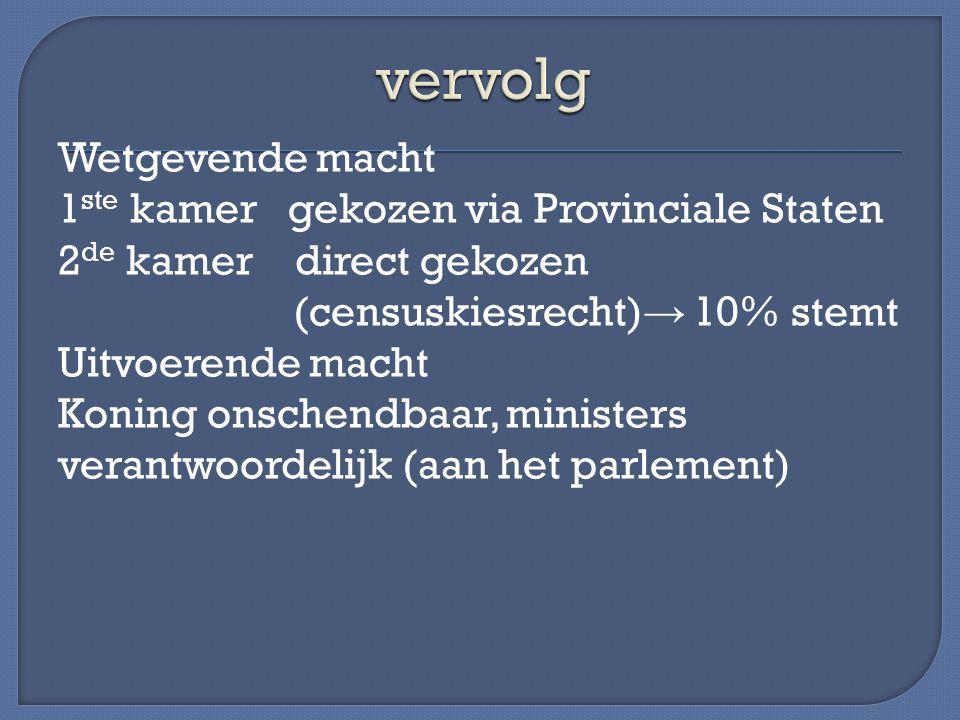 Wetgevende macht 1 ste kamer gekozen via Provinciale Staten 2 de kamer direct gekozen (censuskiesrecht) → 10% stemt Uitvoerende macht Koning onschendb