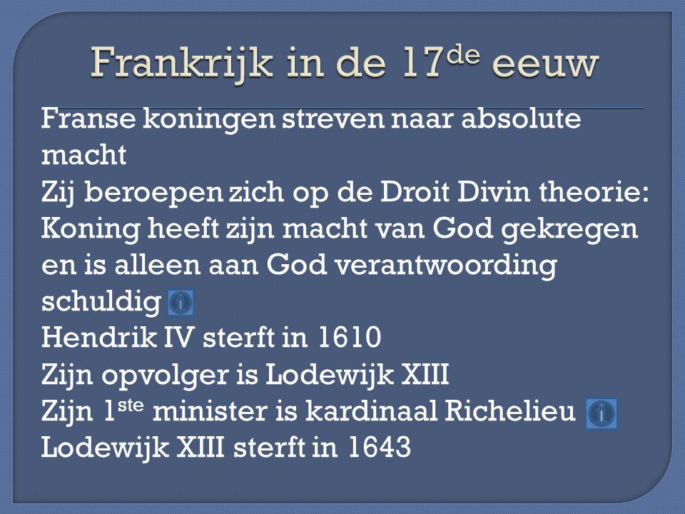 Franse koningen streven naar absolute macht Zij beroepen zich op de Droit Divin theorie: Koning heeft zijn macht van God gekregen en is alleen aan God