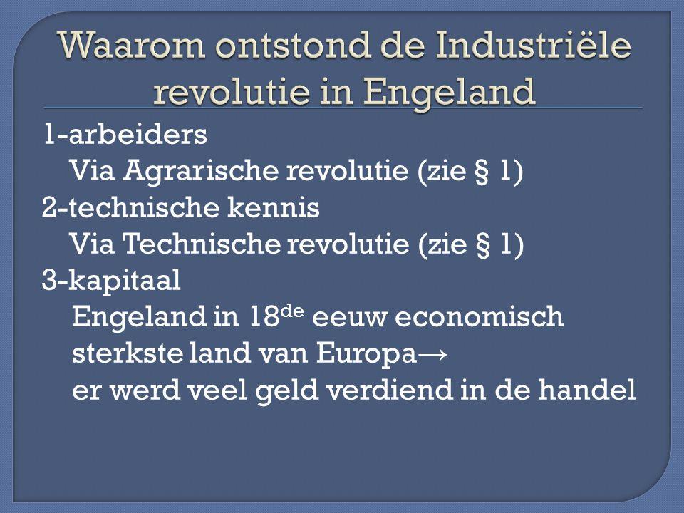 1-arbeiders Via Agrarische revolutie (zie § 1) 2-technische kennis Via Technische revolutie (zie § 1) 3-kapitaal Engeland in 18 de eeuw economisch sterkste land van Europa → er werd veel geld verdiend in de handel