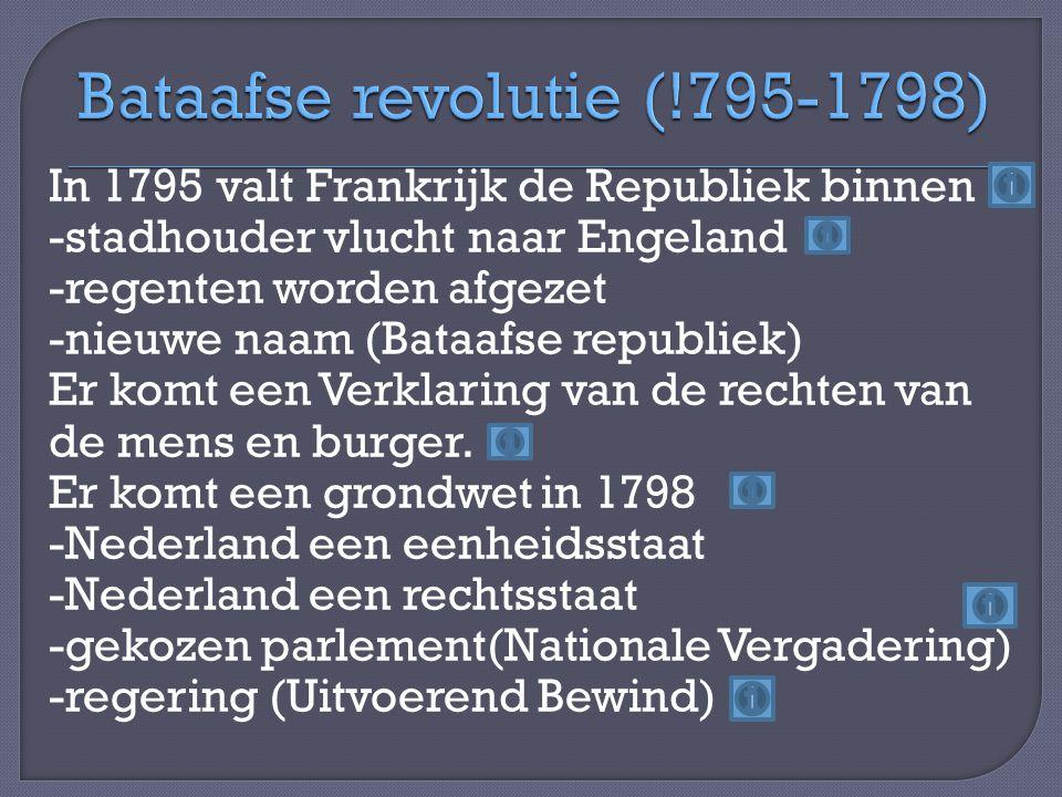 In 1795 valt Frankrijk de Republiek binnen -stadhouder vlucht naar Engeland -regenten worden afgezet -nieuwe naam (Bataafse republiek) Er komt een Verklaring van de rechten van de mens en burger.