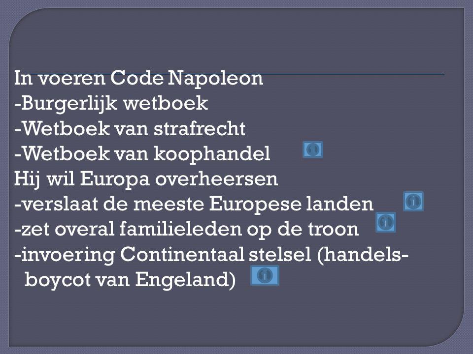 In voeren Code Napoleon -Burgerlijk wetboek -Wetboek van strafrecht -Wetboek van koophandel Hij wil Europa overheersen -verslaat de meeste Europese landen -zet overal familieleden op de troon -invoering Continentaal stelsel (handels- boycot van Engeland)