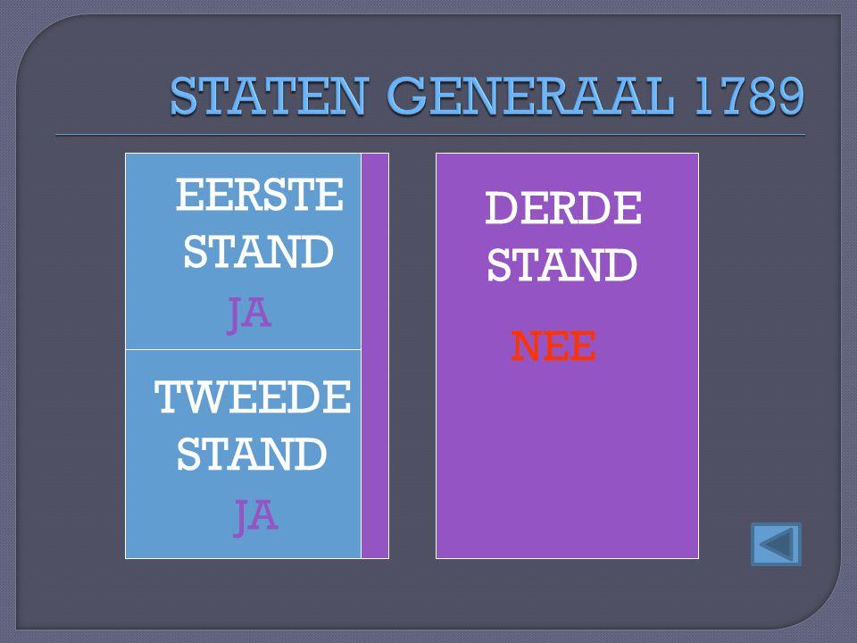EERSTE STAND TWEEDE STAND DERDE STAND JA NEE