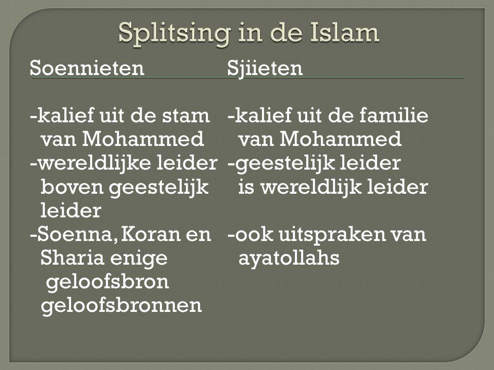 SoennietenSjiieten -kalief uit de stam -kalief uit de familie van Mohammed -wereldlijke leider-geestelijk leider boven geestelijk is wereldlijk leider