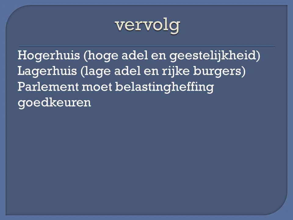 Hogerhuis (hoge adel en geestelijkheid) Lagerhuis (lage adel en rijke burgers) Parlement moet belastingheffing goedkeuren