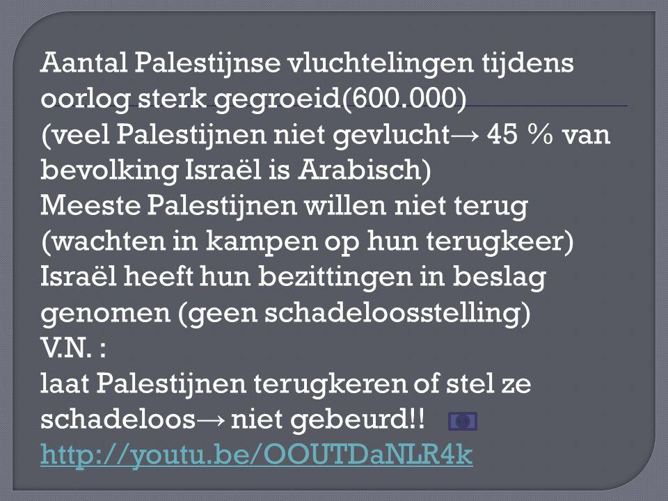 Aantal Palestijnse vluchtelingen tijdens oorlog sterk gegroeid(600.000) (veel Palestijnen niet gevlucht → 45 % van bevolking Israël is Arabisch) Meeste Palestijnen willen niet terug (wachten in kampen op hun terugkeer) Israël heeft hun bezittingen in beslag genomen (geen schadeloosstelling) V.N.