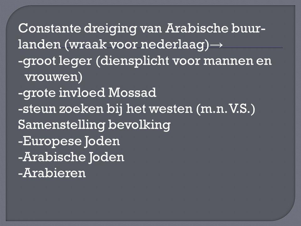Constante dreiging van Arabische buur- landen (wraak voor nederlaag) → -groot leger (diensplicht voor mannen en vrouwen) -grote invloed Mossad -steun zoeken bij het westen (m.n.