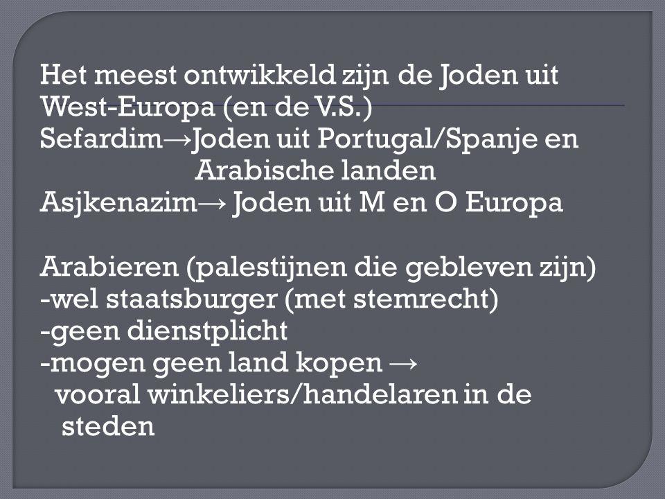 Het meest ontwikkeld zijn de Joden uit West-Europa (en de V.S.) Sefardim → Joden uit Portugal/Spanje en Arabische landen Asjkenazim → Joden uit M en O Europa Arabieren (palestijnen die gebleven zijn) -wel staatsburger (met stemrecht) -geen dienstplicht -mogen geen land kopen → vooral winkeliers/handelaren in de steden