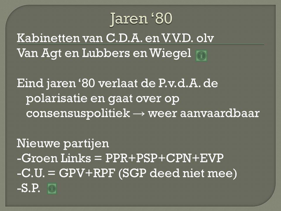 Kabinetten van C.D.A. en V.V.D. olv Van Agt en Lubbers en Wiegel Eind jaren '80 verlaat de P.v.d.A. de polarisatie en gaat over op consensuspolitiek →