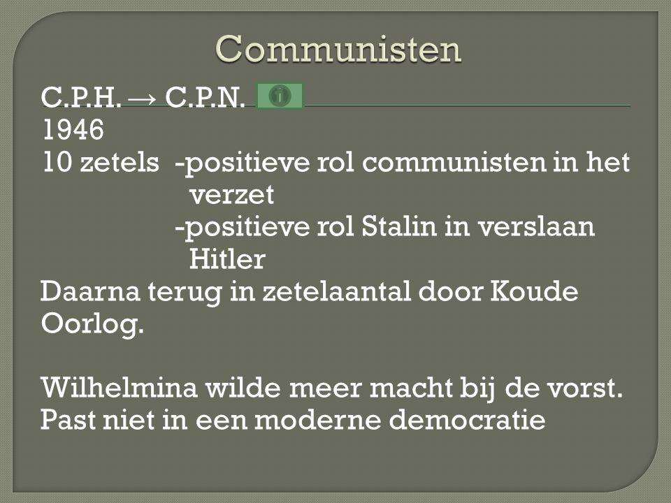 C.P.H. → C.P.N. 1946 10 zetels-positieve rol communisten in het verzet -positieve rol Stalin in verslaan Hitler Daarna terug in zetelaantal door Koude