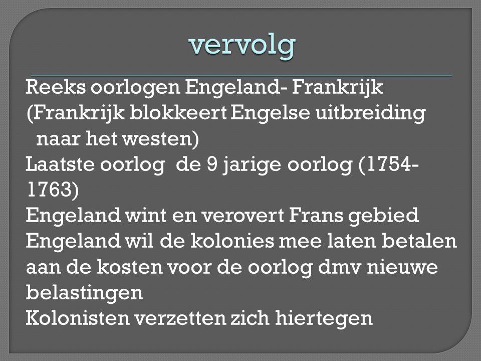 Reeks oorlogen Engeland- Frankrijk (Frankrijk blokkeert Engelse uitbreiding naar het westen) Laatste oorlog de 9 jarige oorlog (1754- 1763) Engeland w