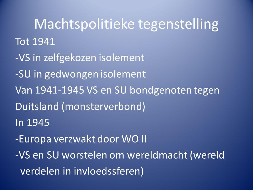 Machtspolitieke tegenstelling Tot 1941 -VS in zelfgekozen isolement -SU in gedwongen isolement Van 1941-1945 VS en SU bondgenoten tegen Duitsland (mon