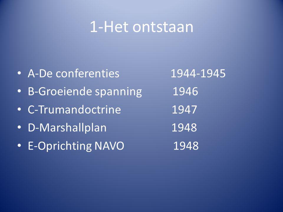 1-Het ontstaan A-De conferenties 1944-1945 B-Groeiende spanning 1946 C-Trumandoctrine 1947 D-Marshallplan 1948 E-Oprichting NAVO 1948