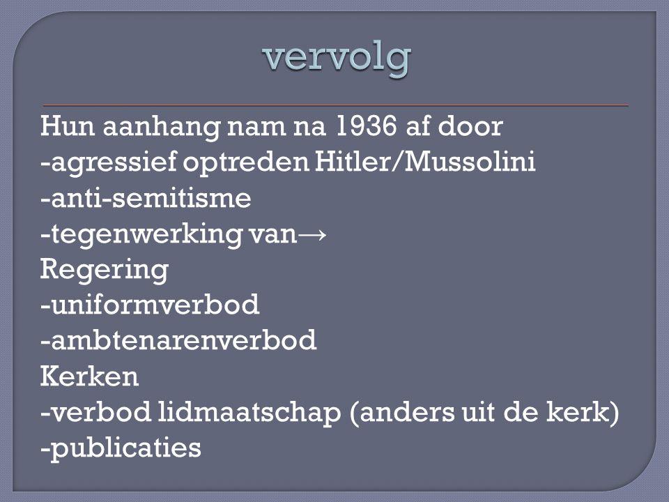 Hun aanhang nam na 1936 af door -agressief optreden Hitler/Mussolini -anti-semitisme -tegenwerking van → Regering -uniformverbod -ambtenarenverbod Ker