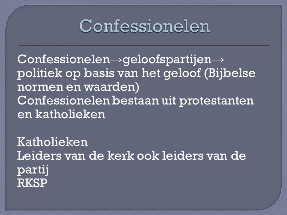Confessionelen → geloofspartijen → politiek op basis van het geloof (Bijbelse normen en waarden) Confessionelen bestaan uit protestanten en katholieke