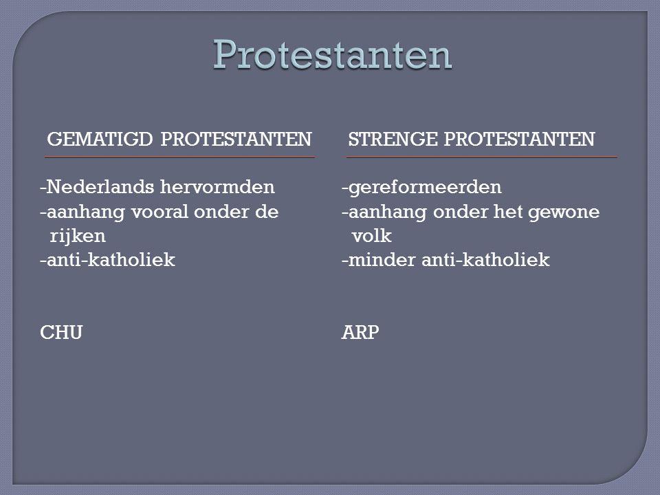 GEMATIGD PROTESTANTENSTRENGE PROTESTANTEN -Nederlands hervormden -aanhang vooral onder de rijken -anti-katholiek CHU -gereformeerden -aanhang onder he