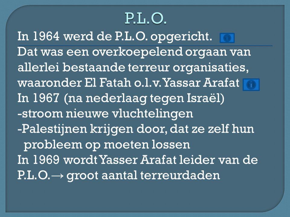 In 1964 werd de P.L.O. opgericht.