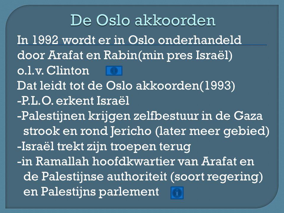 -resultaten vallen tegen -Palestijns gebied sterk versnipperd -overal Joodse nederzettingen (willen niet weg) http://youtu.be/LY7_nmIAetQ -Rabin vermoord(1995) door orthodoxe Jood → opvolger Netanyahu(Likoed) → hardere opstelling Israël → opkomst Hamas (gesteund door Syrië en Hezbollah(gesteund door Iran) Beiden plegen zelfmoordaanslagen vanuit Libanon http://youtu.be/8bybO6trcZk http://youtu.be/7fYA6DzlpLU