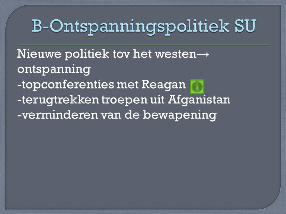 Nieuwe politiek tov het westen → ontspanning -topconferenties met Reagan -terugtrekken troepen uit Afganistan -verminderen van de bewapening