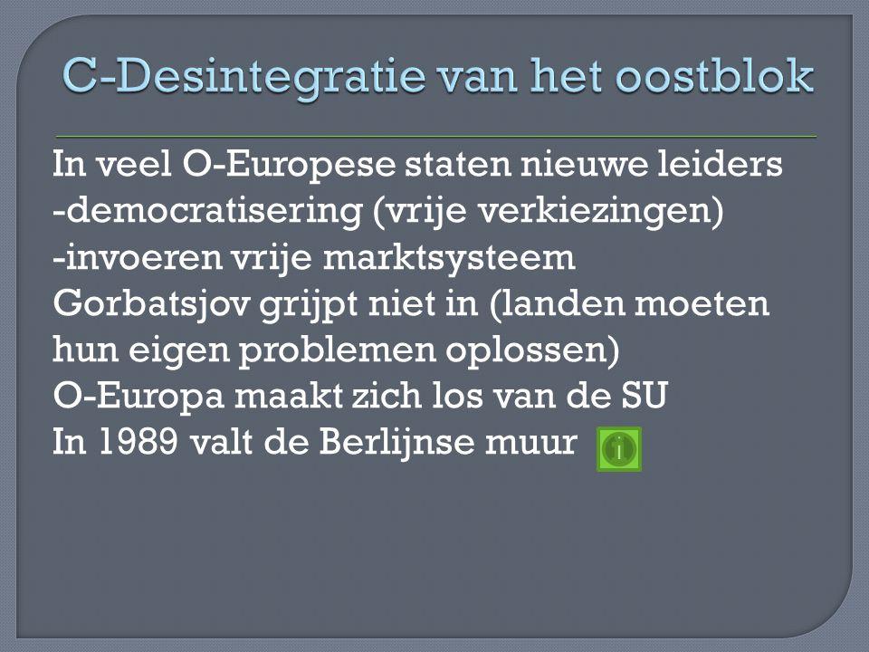 In veel O-Europese staten nieuwe leiders -democratisering (vrije verkiezingen) -invoeren vrije marktsysteem Gorbatsjov grijpt niet in (landen moeten hun eigen problemen oplossen) O-Europa maakt zich los van de SU In 1989 valt de Berlijnse muur