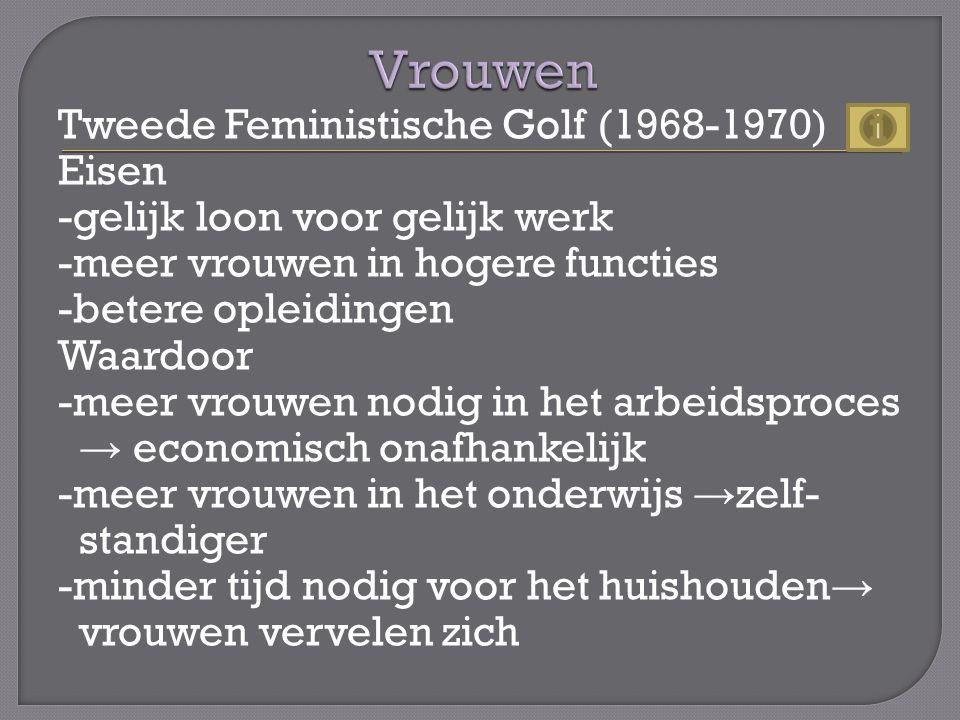 Tweede Feministische Golf (1968-1970) Eisen -gelijk loon voor gelijk werk -meer vrouwen in hogere functies -betere opleidingen Waardoor -meer vrouwen nodig in het arbeidsproces → economisch onafhankelijk -meer vrouwen in het onderwijs → zelf- standiger -minder tijd nodig voor het huishouden → vrouwen vervelen zich