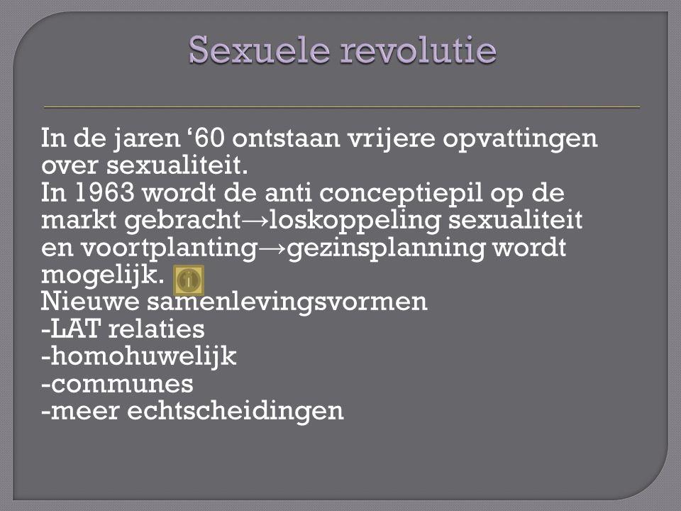 In de jaren '60 ontstaan vrijere opvattingen over sexualiteit.