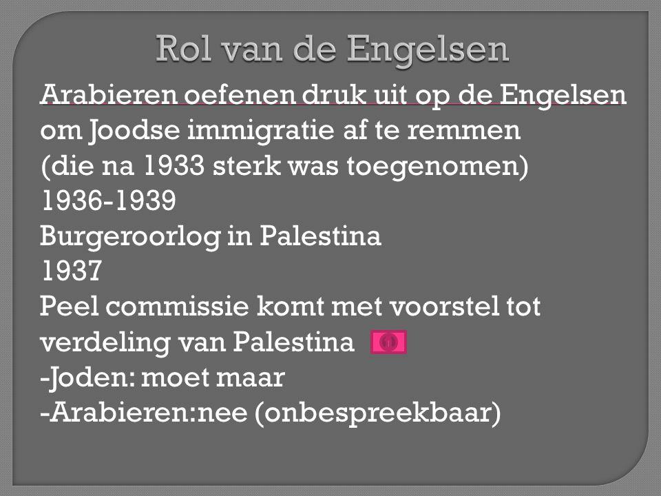 Arabieren oefenen druk uit op de Engelsen om Joodse immigratie af te remmen (die na 1933 sterk was toegenomen) 1936-1939 Burgeroorlog in Palestina 1937 Peel commissie komt met voorstel tot verdeling van Palestina -Joden: moet maar -Arabieren:nee (onbespreekbaar)