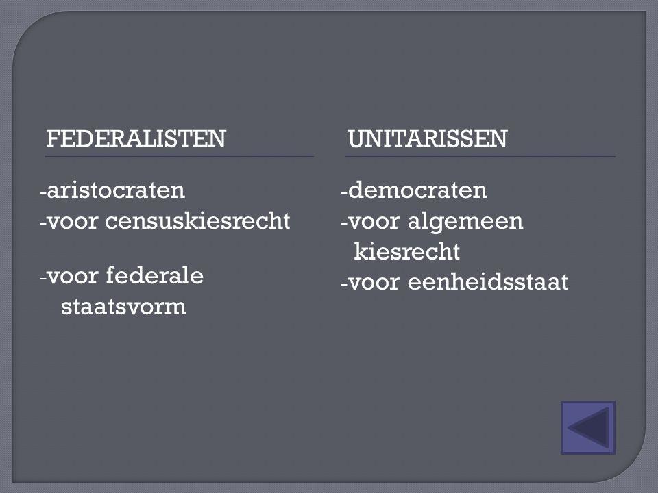 FEDERALISTENUNITARISSEN - aristocraten - voor censuskiesrecht - voor federale staatsvorm - democraten - voor algemeen kiesrecht - voor eenheidsstaat
