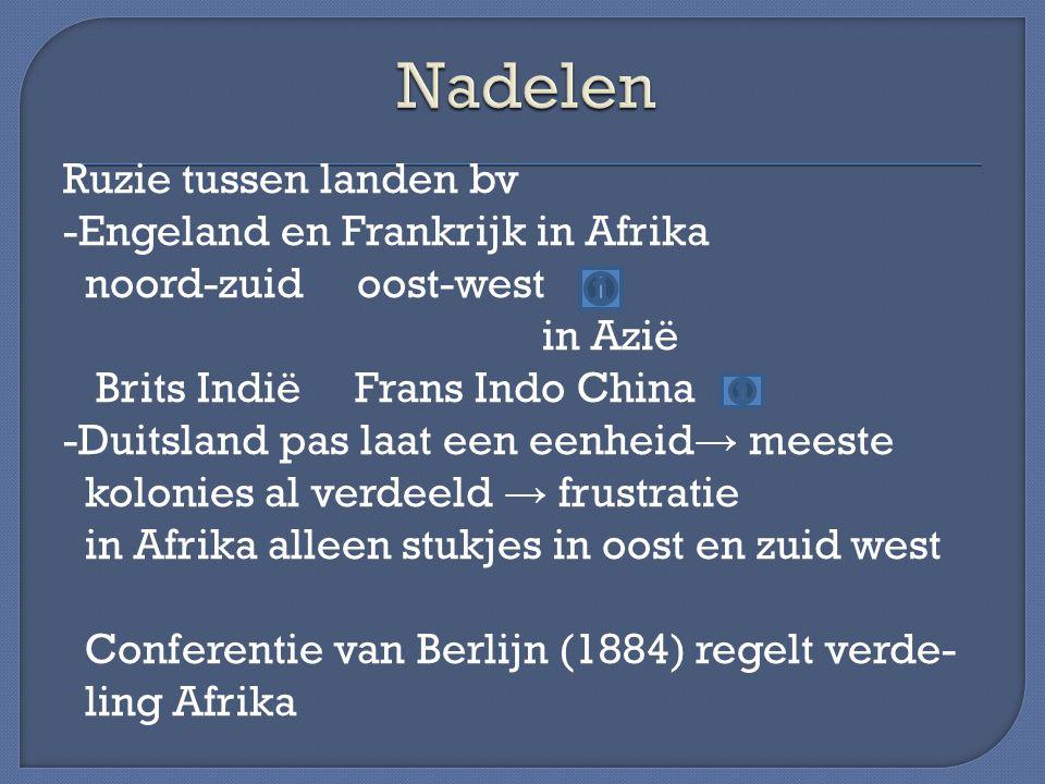 Ruzie tussen landen bv -Engeland en Frankrijk in Afrika noord-zuid oost-west in Azië Brits Indië Frans Indo China -Duitsland pas laat een eenheid → me