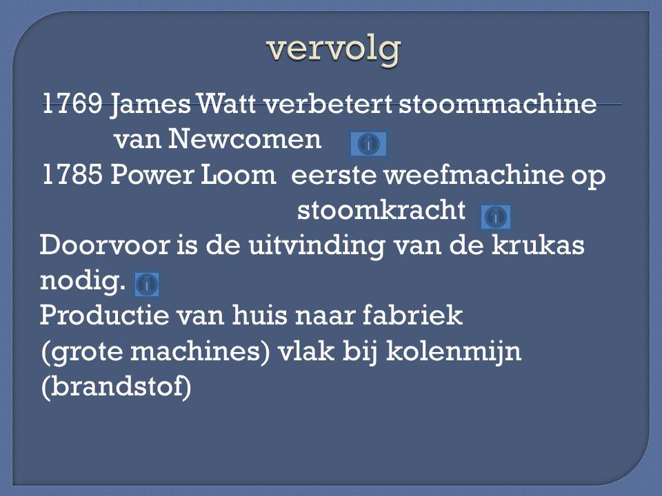 1769 James Watt verbetert stoommachine van Newcomen 1785 Power Loom eerste weefmachine op stoomkracht Doorvoor is de uitvinding van de krukas nodig.