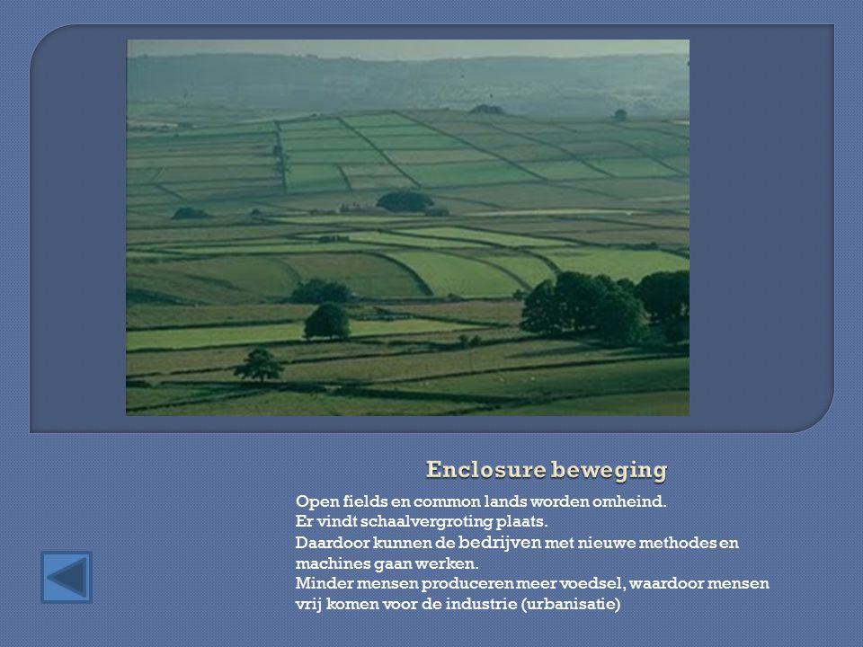 Open fields en common lands worden omheind.Er vindt schaalvergroting plaats.